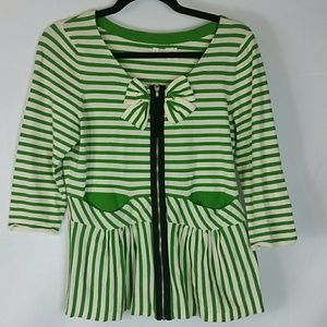 Moth green stripe zip peplum shirt with bow sz L